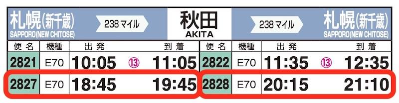JAL時刻表(新千歳-秋田)
