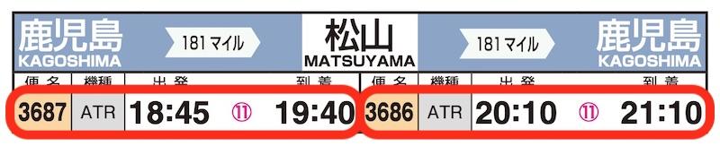 JAL時刻表(鹿児島-松山)