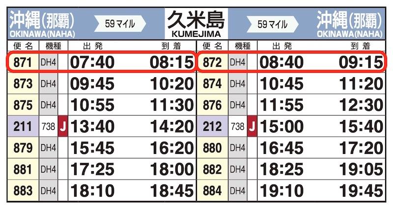 JAL時刻表(那覇-久米島)