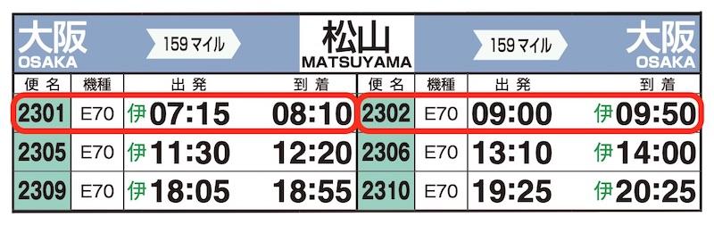 JAL時刻表(伊丹-松山)