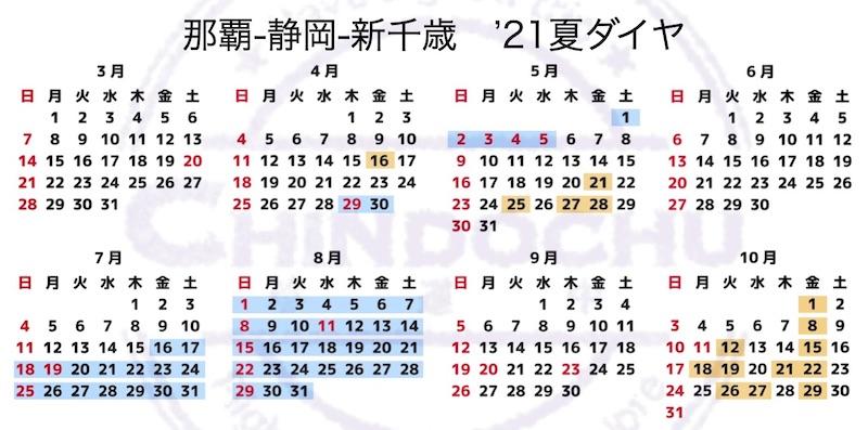 那覇-静岡-新千歳 '21夏ダイヤ