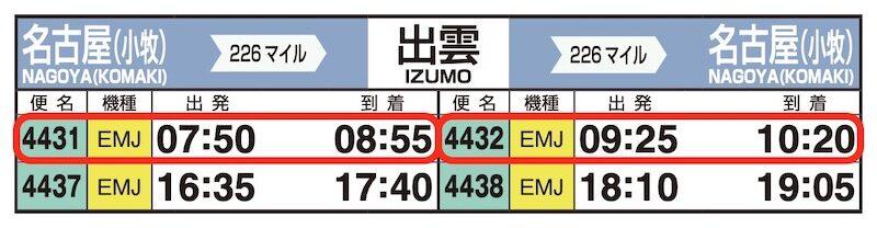 JAL時刻表(小牧-出雲)
